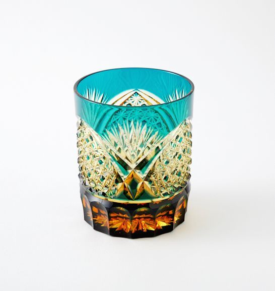 送料無料 江戸切子アンバークリスタルロックグラス(緑)伝統工芸品(286)_画像1