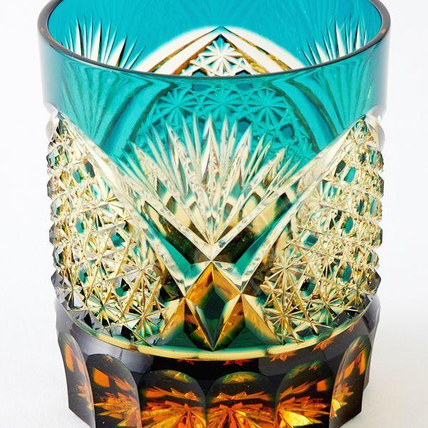 送料無料 江戸切子アンバークリスタルロックグラス(緑)伝統工芸品(286)_画像2