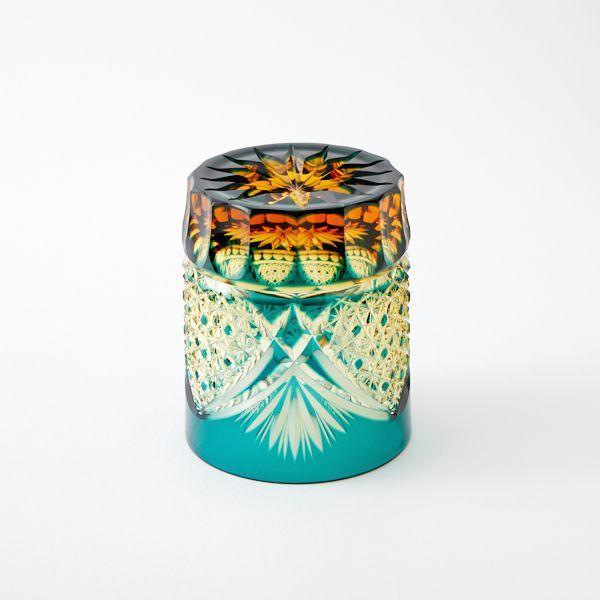 送料無料 江戸切子アンバークリスタルロックグラス(緑)伝統工芸品(286)_画像3