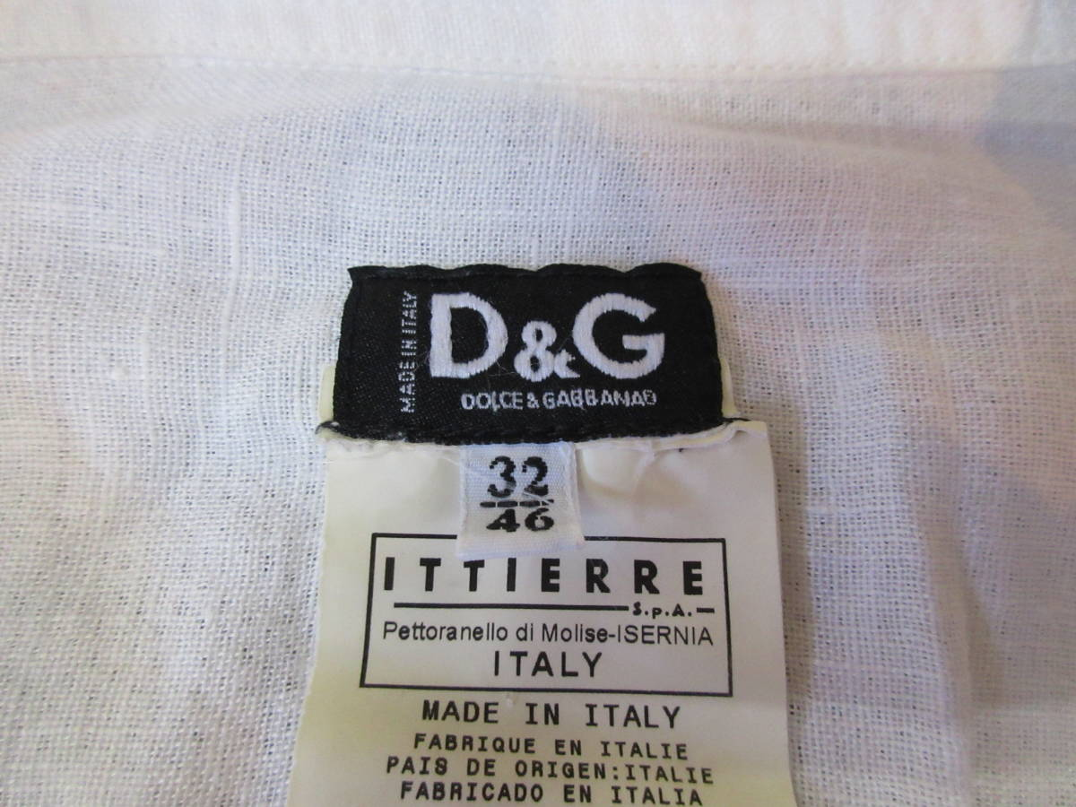 ドルチェ&ガッバーナ 半袖 リネンシャツ 32/46 イタリア製 亜麻 エポレット D&G メンズ 白ホワイト ドルガバ_画像3