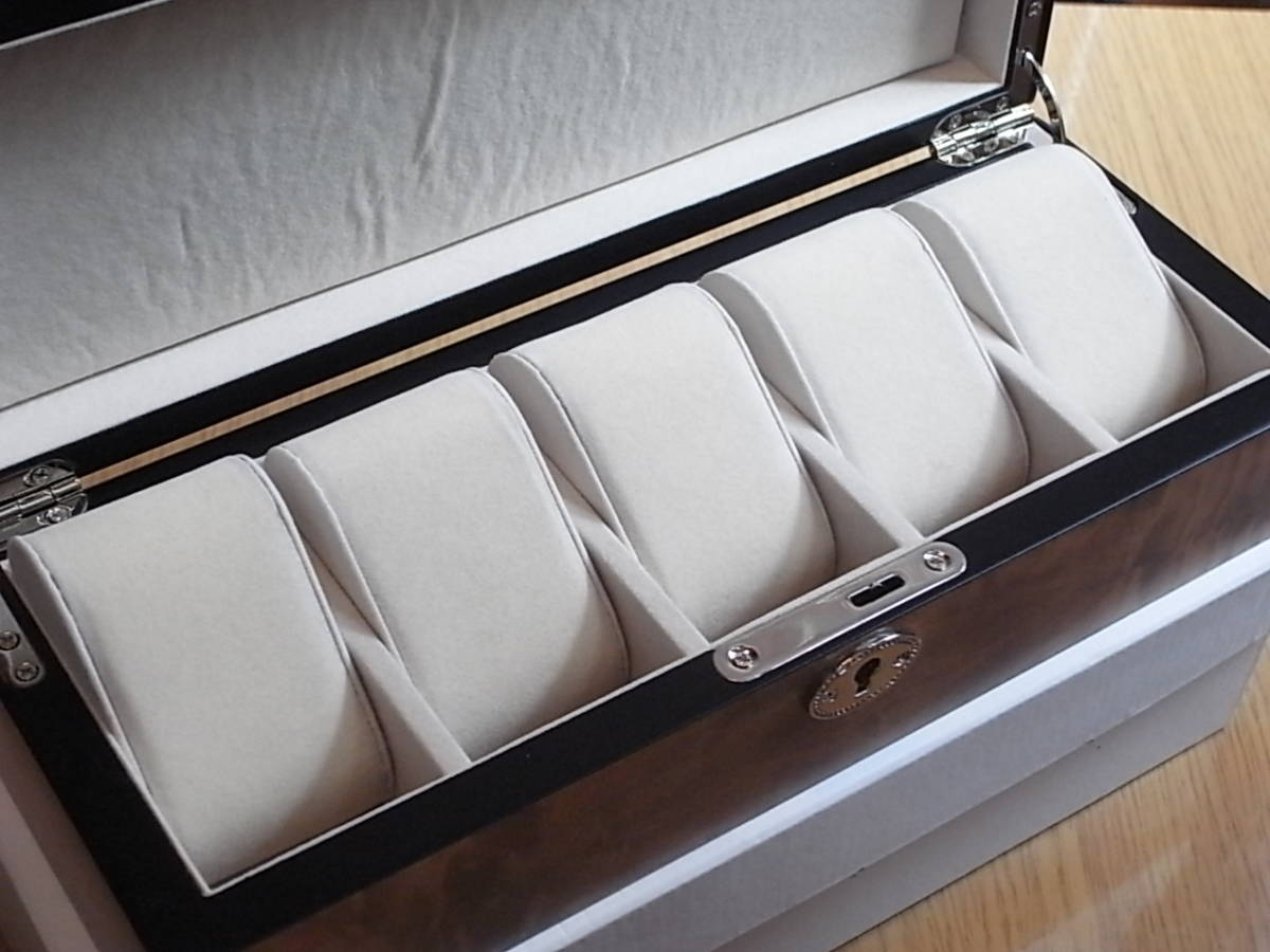 腕時計用 木製コレクションケース 5本収納 時計店の長期在庫品 化粧箱入りデットストック_画像2