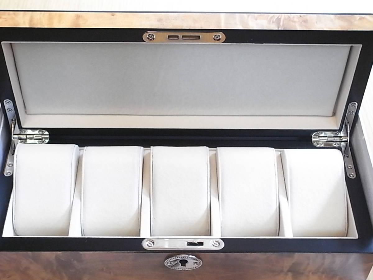 腕時計用 木製コレクションケース 5本収納 時計店の長期在庫品 化粧箱入りデットストック_画像4