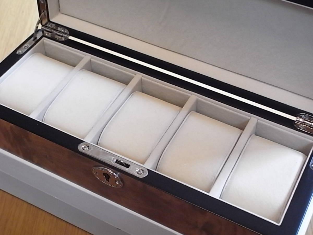 腕時計用 木製コレクションケース 5本収納 時計店の長期在庫品 化粧箱入りデットストック_画像3