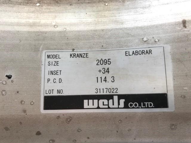 20インチ タイヤホイールセット ウェッズ クレンツェ エルアボラ 2ピース  20X9.5J 20x8.5J インセット+34 PCD:114.3 _画像9