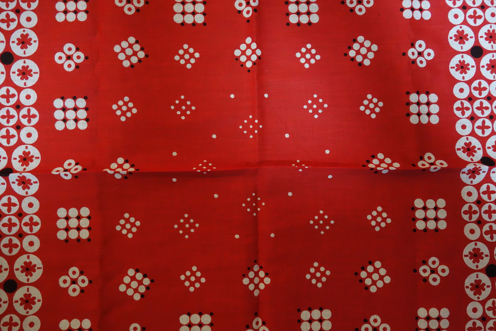 デッドストック ビンテージ バンダナ ポルカドット セルビッジ 1960s USA FASTCOLOR レッド 新品 エレファント タイガー レア 赤 大判_画像4
