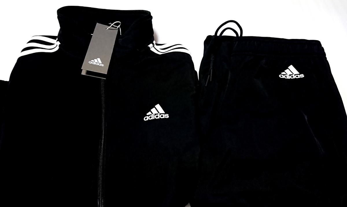 adidas レディース 3ストライプ ジャージ 上下セット Lサイズ ブラック ブラック 黒 トラックスーツ スタンドカラ 新品タグ付き_画像1