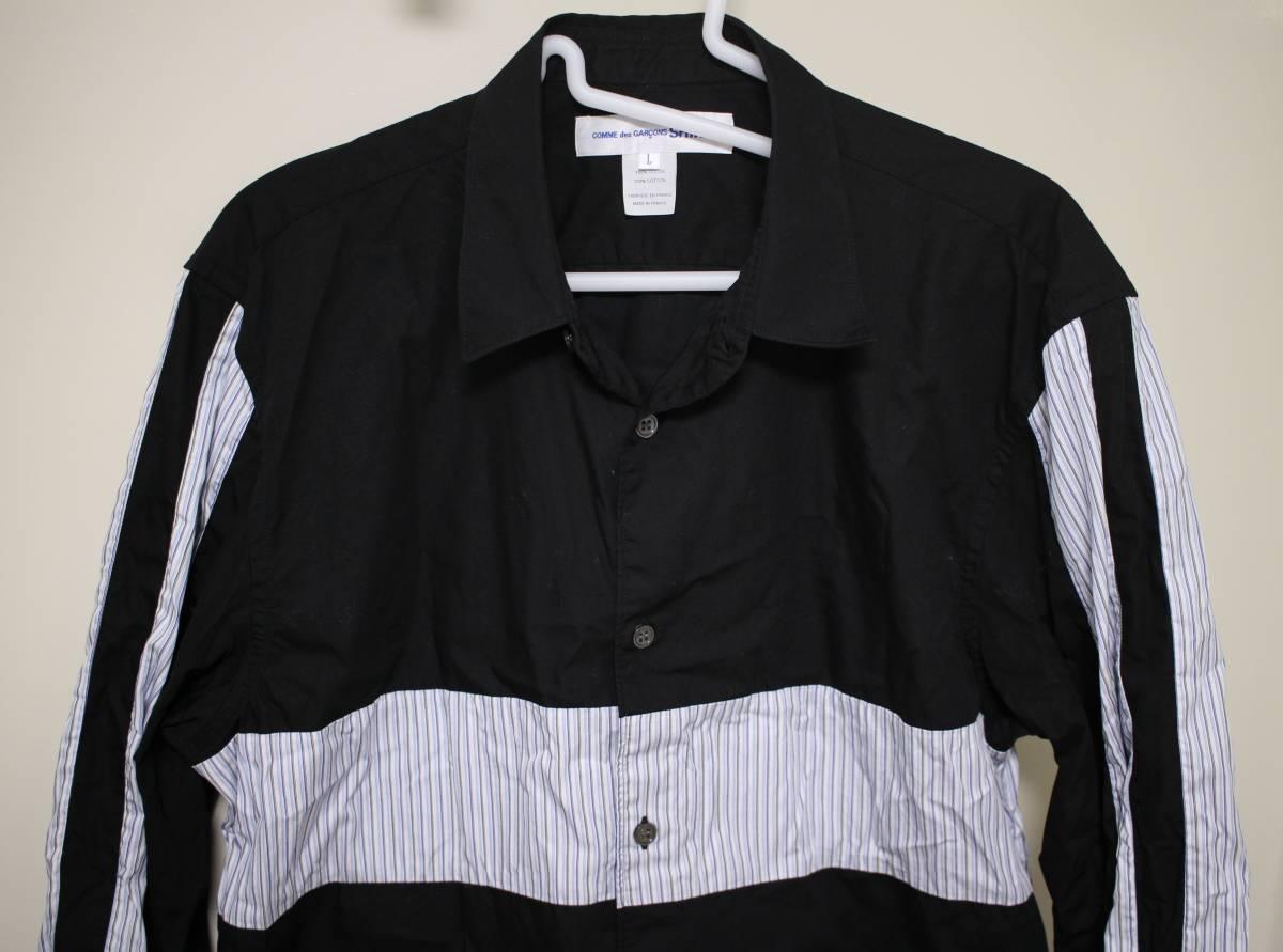Lサイズ コム デ ギャルソン シャツ 黒 切り替え ストライプ COMME des GARCONS SHIRT_画像2