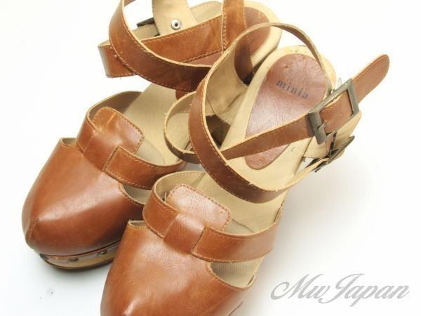 ★ac863☆minia ウェッジ サンダル アーバンリサーチ購入 サイズL ブラウン 茶系 レディースシューズ 靴 厚底_画像1