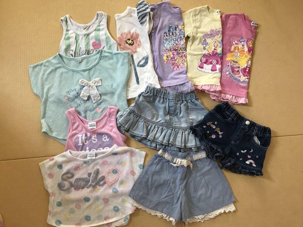 女の子 夏服 福袋 100 110 120サイズまとめて30点 ワンピース Tシャツ メゾピアノ マイメロ プリキュア バービー _画像3