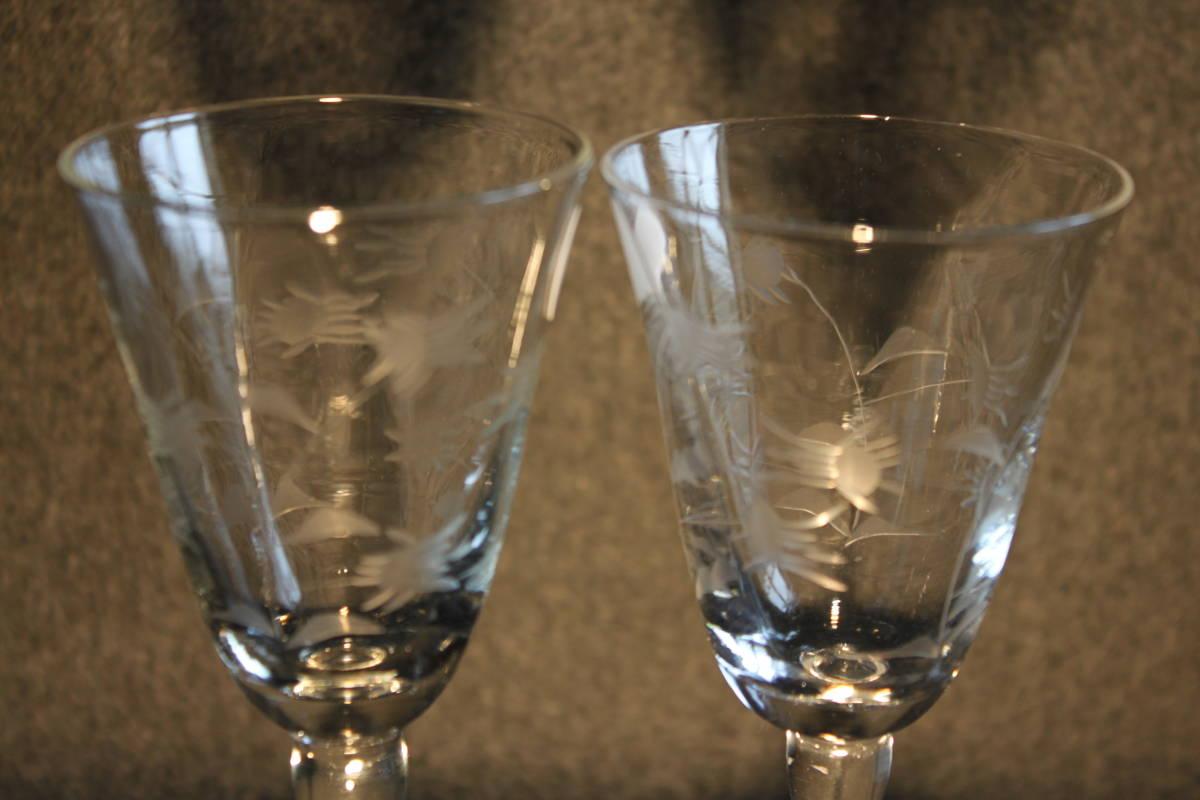 〔時の風〕 WAIN01 ワイングラス シャンパングラス 【 珍しい花文様の2客セット 】 ガラス 手作り グラス 薄手 未使用 美品   _画像2
