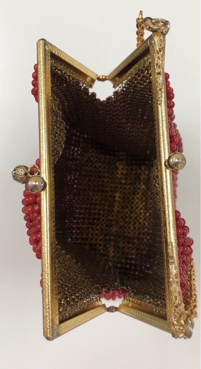 【希少】血赤珊瑚サンゴ コーラル装飾バッグ・和装バッグ・着物バッグ【ジュエリー・アクセサリー・ハンドメイド】骨董・アンティーク_画像5