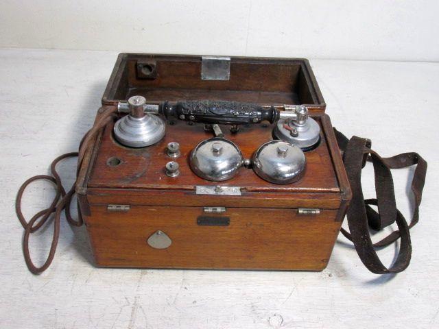 大正13年 沖電気 エボナイト 受話器 木製 電話機 戦前 アンティーク
