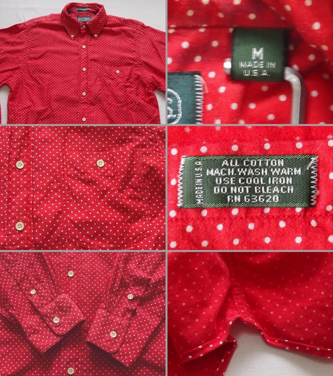 ビンテージ 90's U.S.A製【GITMAN BROS】ギットマン ブロードコットン ボタンダウンシャツ◇ドット水玉柄◇color[Dark Red]size[M]極上美品_画像9