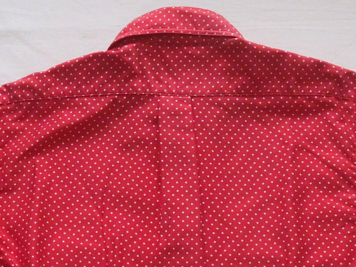 ビンテージ 90's U.S.A製【GITMAN BROS】ギットマン ブロードコットン ボタンダウンシャツ◇ドット水玉柄◇color[Dark Red]size[M]極上美品_画像8