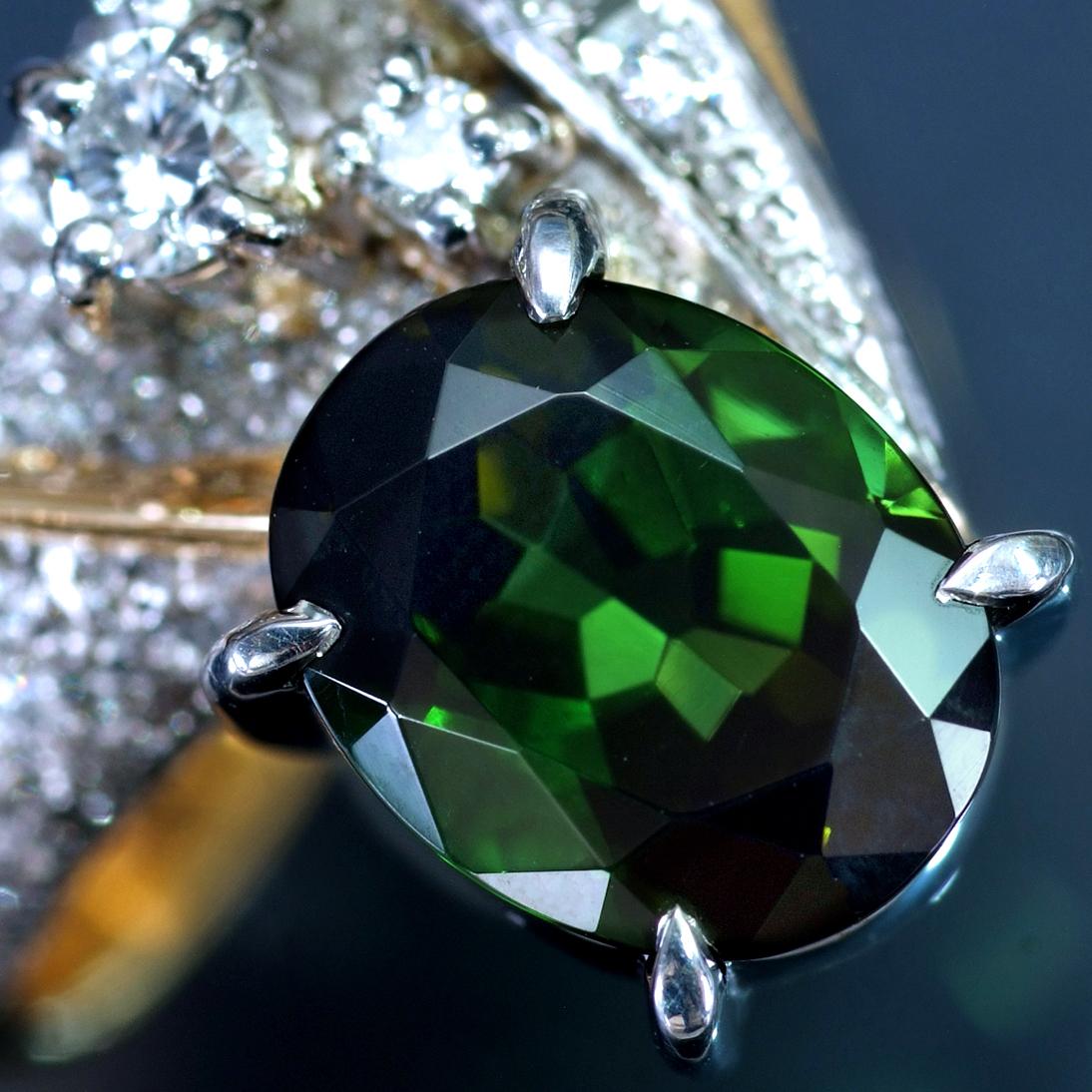 E8114【石川暢子先生】逸品グリーントルマリン 天然絶品ダイヤモンド 最高級18金/Pt900無垢リング サイズ13号 重量11.4g 縦幅15.5mm_画像3