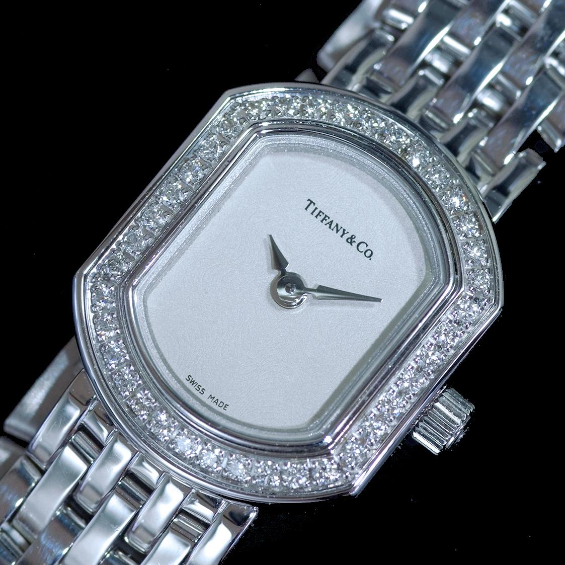 E8391【Tiffany&Co. 1837】ティファニー マーククーペ 純正ダイヤモンド 最高級18金WG無垢レディQZ 腕周り17cm 重量63.81g ケース幅16.7mm_画像1