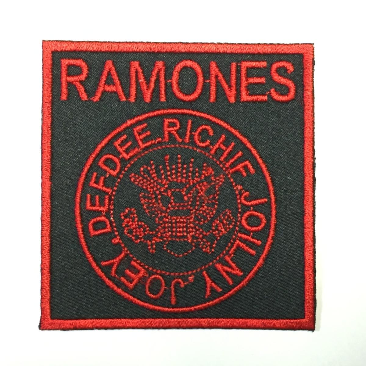 182 Ramones ラモーンズ ラモンズ 四角形ロゴ アイロン ワッペン 音楽 パンク ロック リペア カスタム 刺繍ワッペン アイロンワッペン_画像1