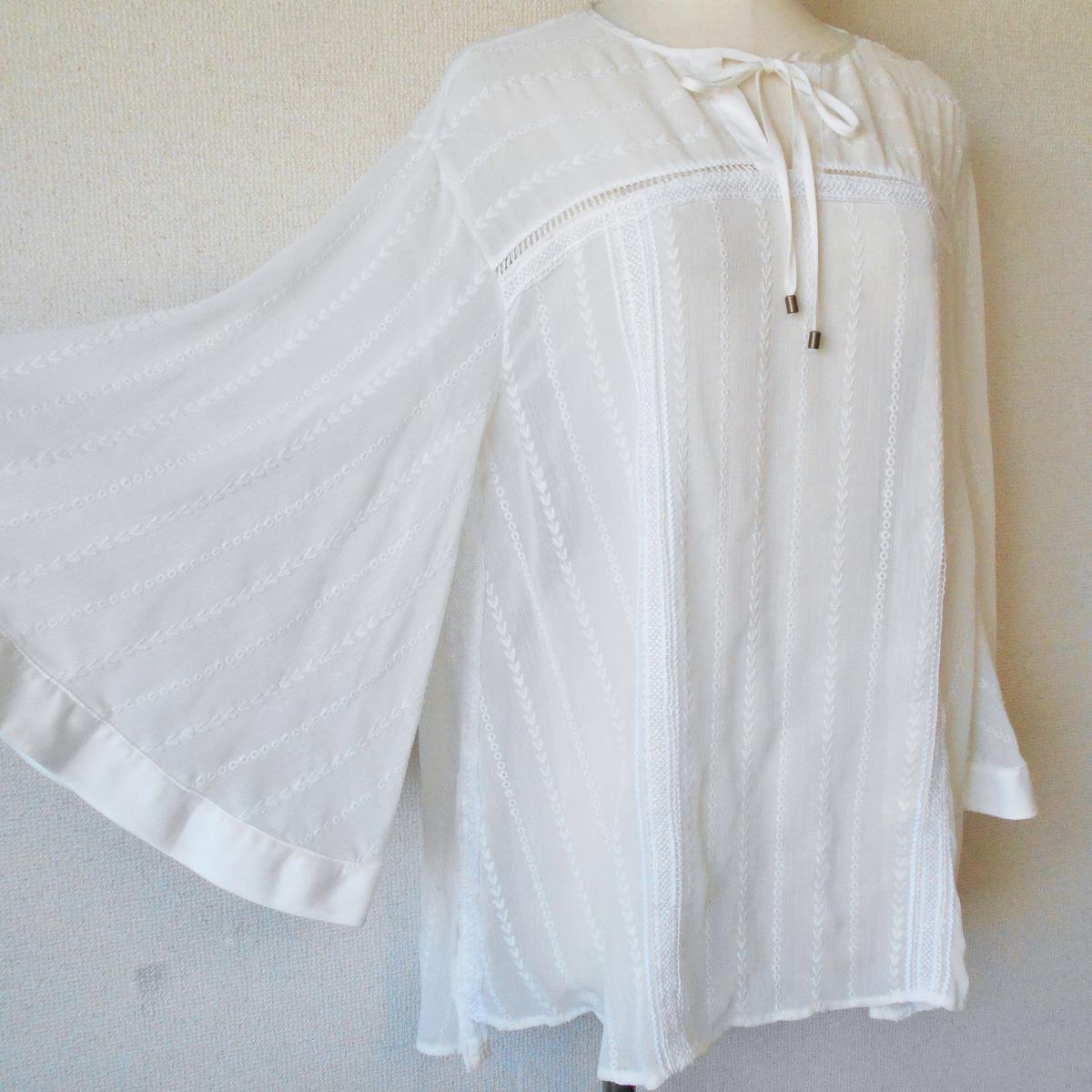 リリーブラウン Lily Brown お袖のデザインが お洒落 な シースルー チュニック ブラウス F_画像4
