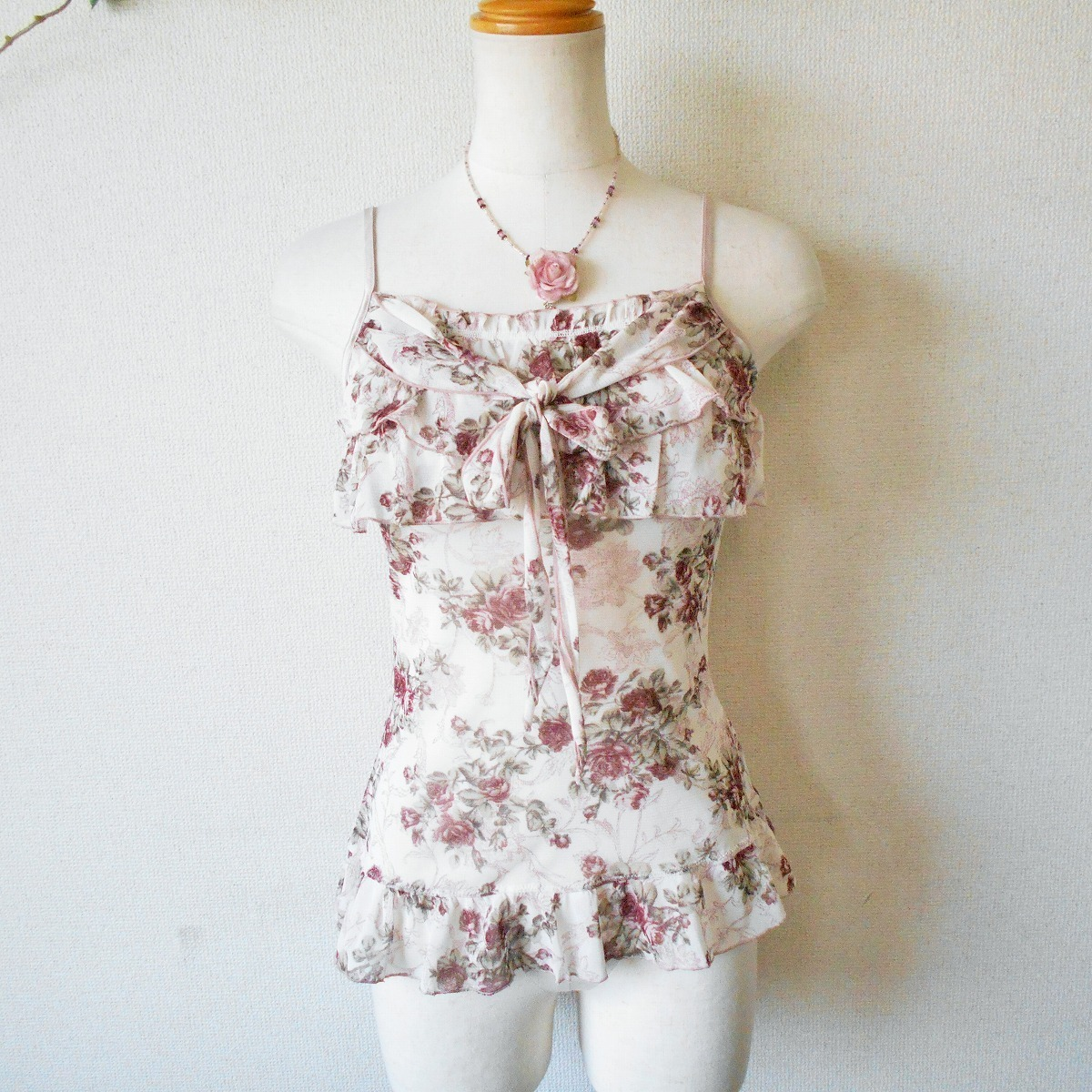 レストローズ LEST ROSE 胸元 フリル の 可愛い チュール キャミソール 日本製 M_画像1