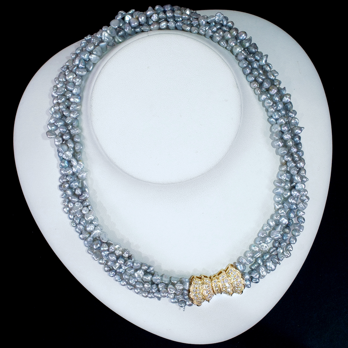 E8241 芥子真珠 天然絶品ダイヤモンド0.97ct 最高級18金無垢5連ネックレス 長さ40cm 重量48.3g バチカンの幅16.5×28.7mm_画像4