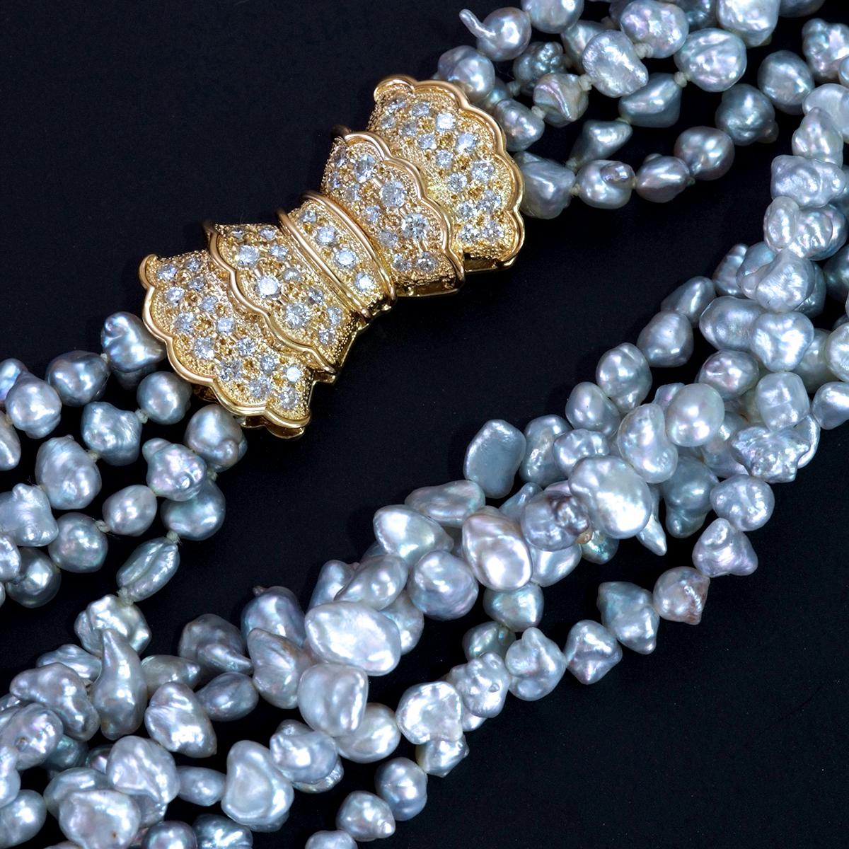 E8241 芥子真珠 天然絶品ダイヤモンド0.97ct 最高級18金無垢5連ネックレス 長さ40cm 重量48.3g バチカンの幅16.5×28.7mm_画像1