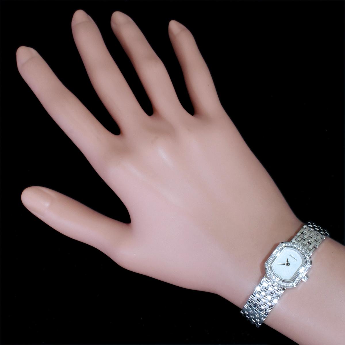 E8391【Tiffany&Co. 1837】ティファニー マーククーペ 純正ダイヤモンド 最高級18金WG無垢レディQZ 腕周り17cm 重量63.81g ケース幅16.7mm_画像4