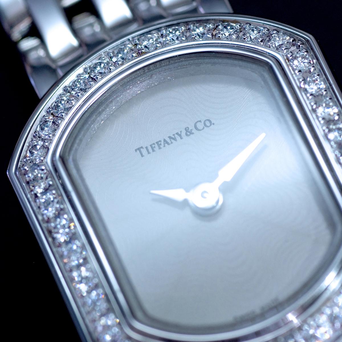 E8391【Tiffany&Co. 1837】ティファニー マーククーペ 純正ダイヤモンド 最高級18金WG無垢レディQZ 腕周り17cm 重量63.81g ケース幅16.7mm_画像2