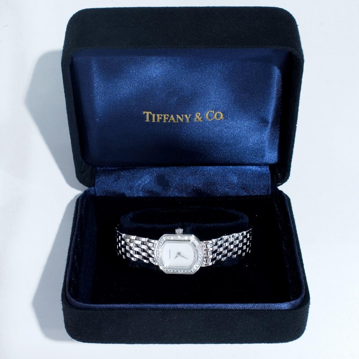 E8391【Tiffany&Co. 1837】ティファニー マーククーペ 純正ダイヤモンド 最高級18金WG無垢レディQZ 腕周り17cm 重量63.81g ケース幅16.7mm_画像5