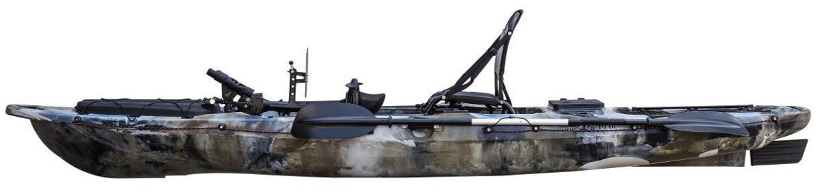 ☆入荷しました☆足漕ぎタイプのフィッシングカヤック(プロペラ式)13ft (397cm)☆イエロー×オレンジ☆今期の在庫は2艇のみです☆_横からの画像です。