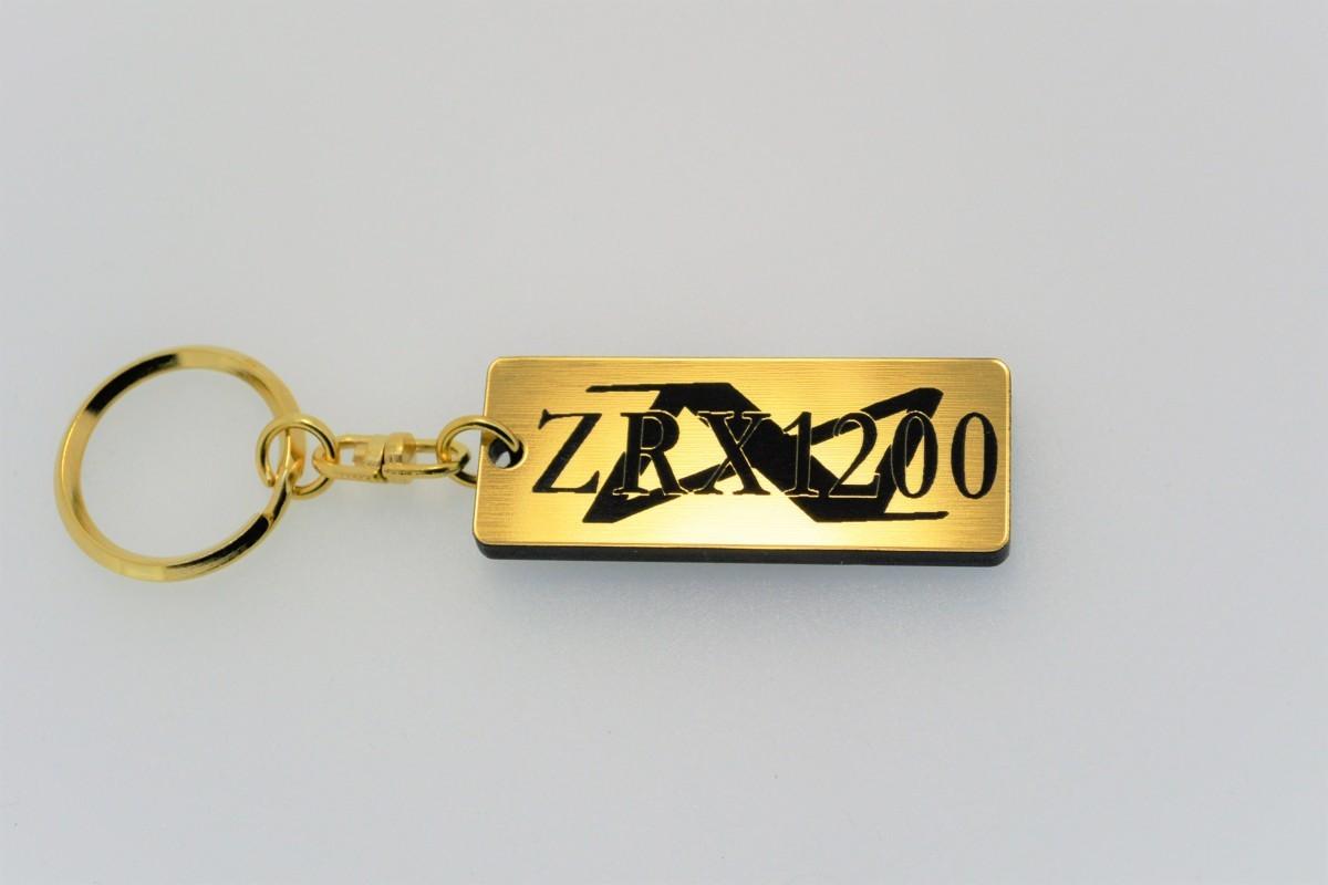 A-110-1 送料無料 ZRX1200DAEG バージョン1 金黒 金2重リング オリジナル キーホルダー メインキー ブランクキー 等 ZRX1200ダエグ