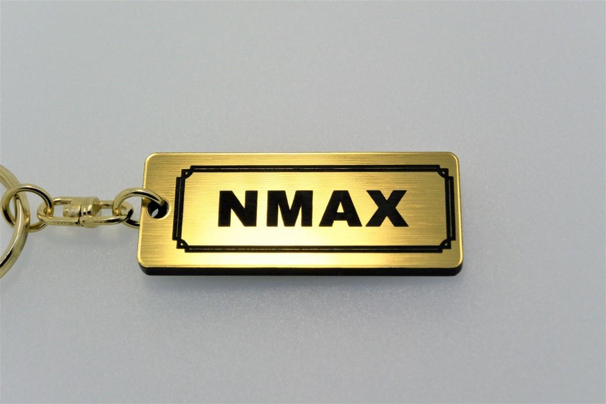 A-530-1 送料無料 NMAX バージョン1 金黒 金2重リング オリジナル キーホルダー メイン ブランク キー 等 NMAX125 NMAX155 ヤマハ_画像1