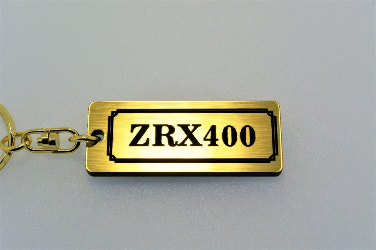 A-531-1 送料無料 ZRX400 バージョン1 金黒 金2重リング オリジナル キーホルダー メイン ブランク キー 等 ZRX400 カワサキ