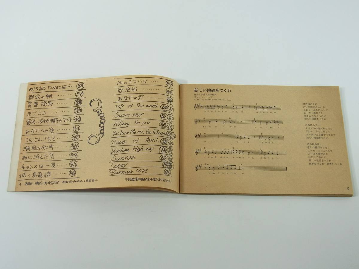 【楽譜】 young guitar song book 1973/2 雑誌「ヤング・ギター」付録小冊子 ギターコード 新しい地球をつくれ ヒマ人クラブ 僕の街 ほか_画像5