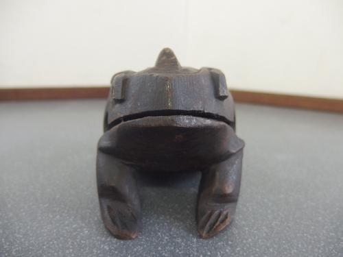590715a【カエル ギロ】楽器/木製/インテリア小物/H8cm/中古品_画像2