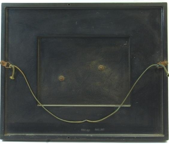 馬のレリーフ 鉄製 額装 壁掛け 33 × 27cm 作者不明☆ オブジェ 壁飾り アンティーク レトロ 金属工芸 [cck-49]_画像4