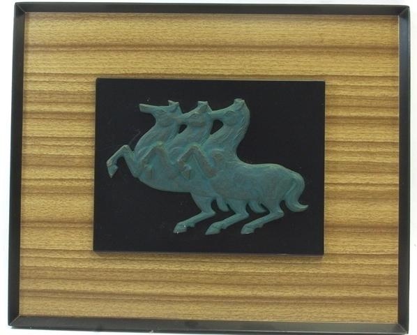 馬のレリーフ 鉄製 額装 壁掛け 33 × 27cm 作者不明☆ オブジェ 壁飾り アンティーク レトロ 金属工芸 [cck-49]_画像1