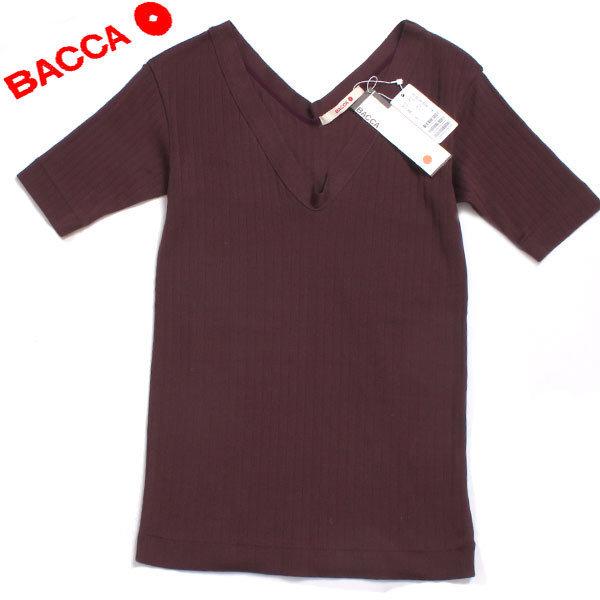 新品 BACCA ワイドリブジャージー Vネックプルオーバー 定価11,880円 sizeS ボルドー 35036403001 バッカ_画像1