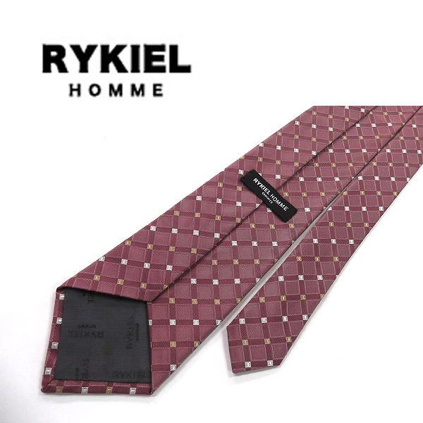 ●RYKIEL HOMME/リキエル●格子柄 ネクタイ 絹/赤紫系[HX0065_[HX0065] の画像2