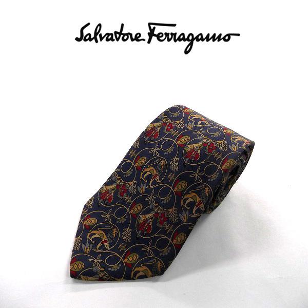 ●Salvatore Ferragamo/フェラガモ●総柄 高級ネクタイ シルク/ネイビー×べージュ系[HX0550_[HX0550] の画像1