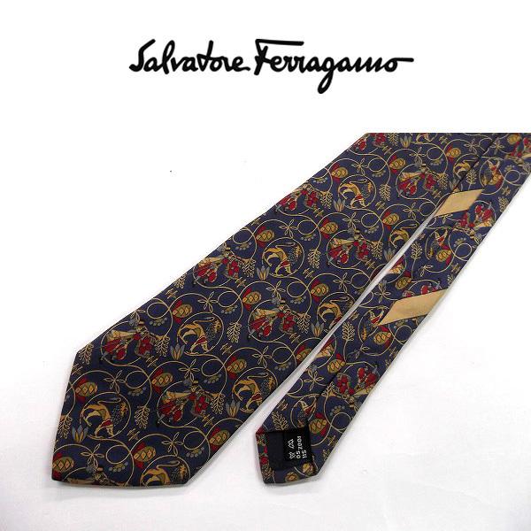 ●Salvatore Ferragamo/フェラガモ●総柄 高級ネクタイ シルク/ネイビー×べージュ系[HX0550_[HX0550] の画像3