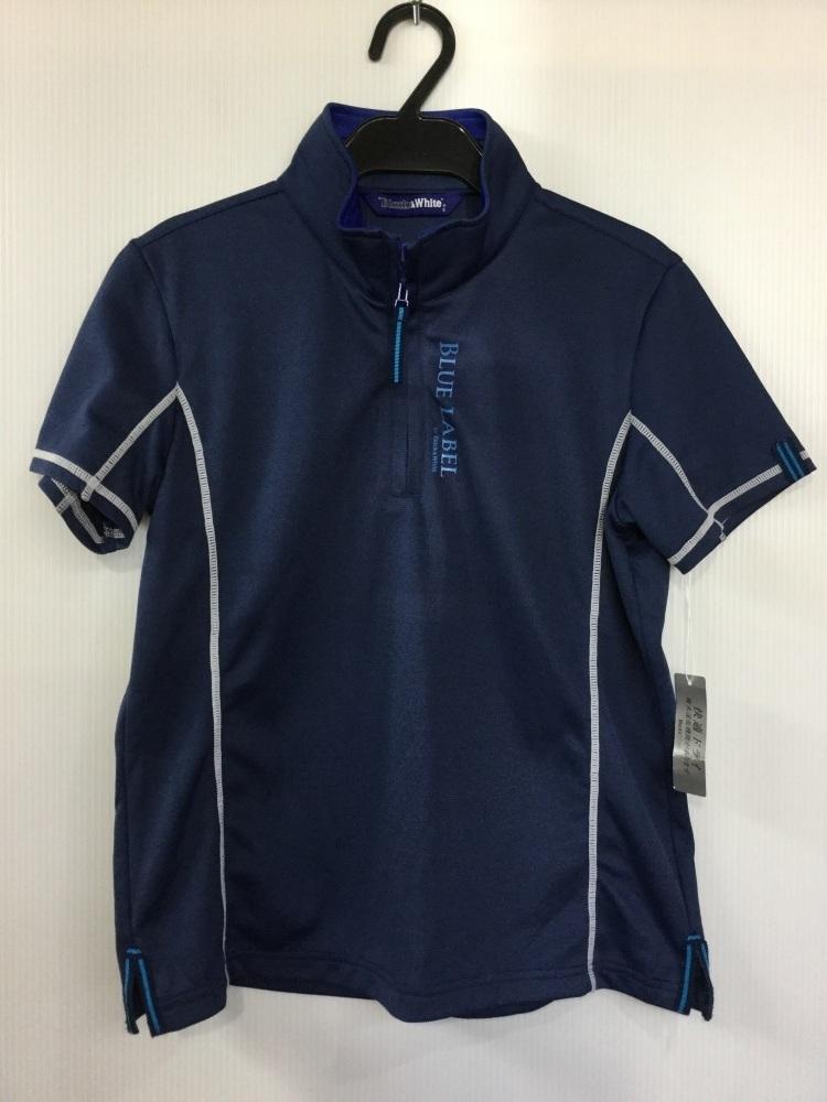 ブラック&ホワイト ダークブルー ゴルフシャツ 吸水速乾機能 サイズ2_画像1
