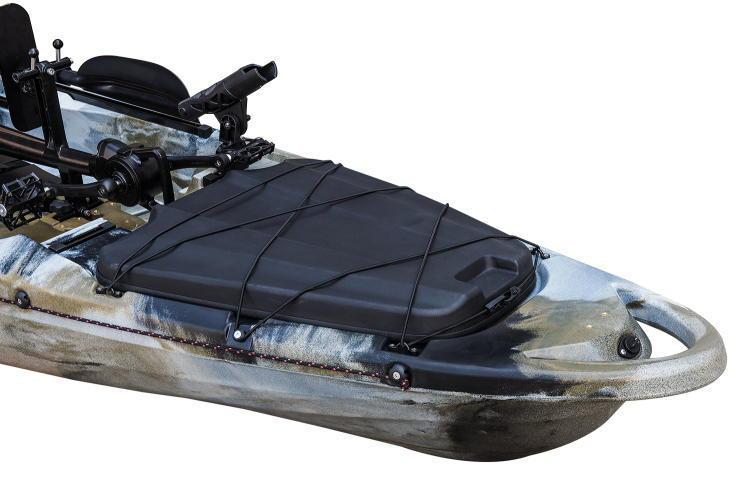 ☆入荷しました☆足漕ぎタイプのフィッシングカヤック(プロペラ式)13ft (397cm)☆イエロー×オレンジ☆今期の在庫は2艇のみです☆_フロント側の画像です。