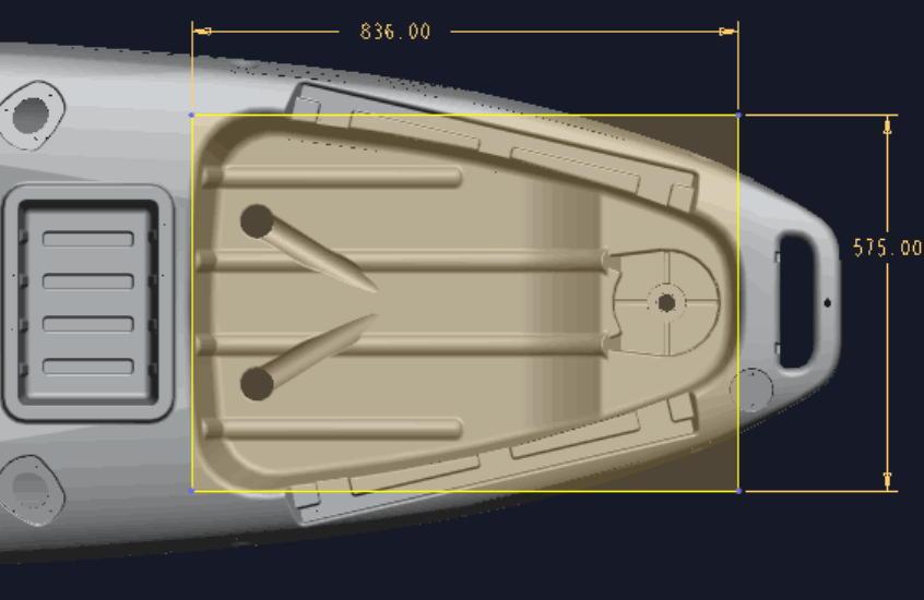 ☆入荷しました☆足漕ぎタイプのフィッシングカヤック(プロペラ式)13ft (397cm)☆イエロー×オレンジ☆今期の在庫は2艇のみです☆_荷台サイズになります。