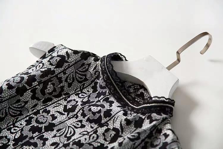 新品 シルク デシン 糸 プリント 気質 ワンピース M レース ひざ丈スカートロングスカートスカート _画像2