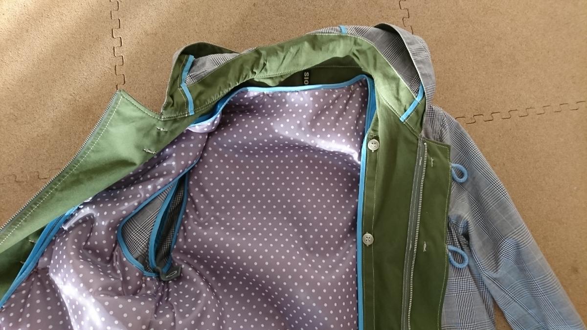 ☆フラボア FRAPBOIS チェック ジャケット ダッフル ライナー付属 グレー×グリーン サイズ1 S 美品☆_画像8