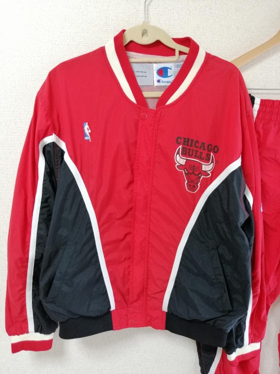 希少 champion チャンピオン シカゴブルズ ウォームアップジャージ ナイロンジャケット セットアップ パンツ 90S 90年代 L レッド(赤)_画像2