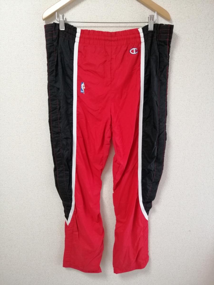 希少 champion チャンピオン シカゴブルズ ウォームアップジャージ ナイロンジャケット セットアップ パンツ 90S 90年代 L レッド(赤)_画像8