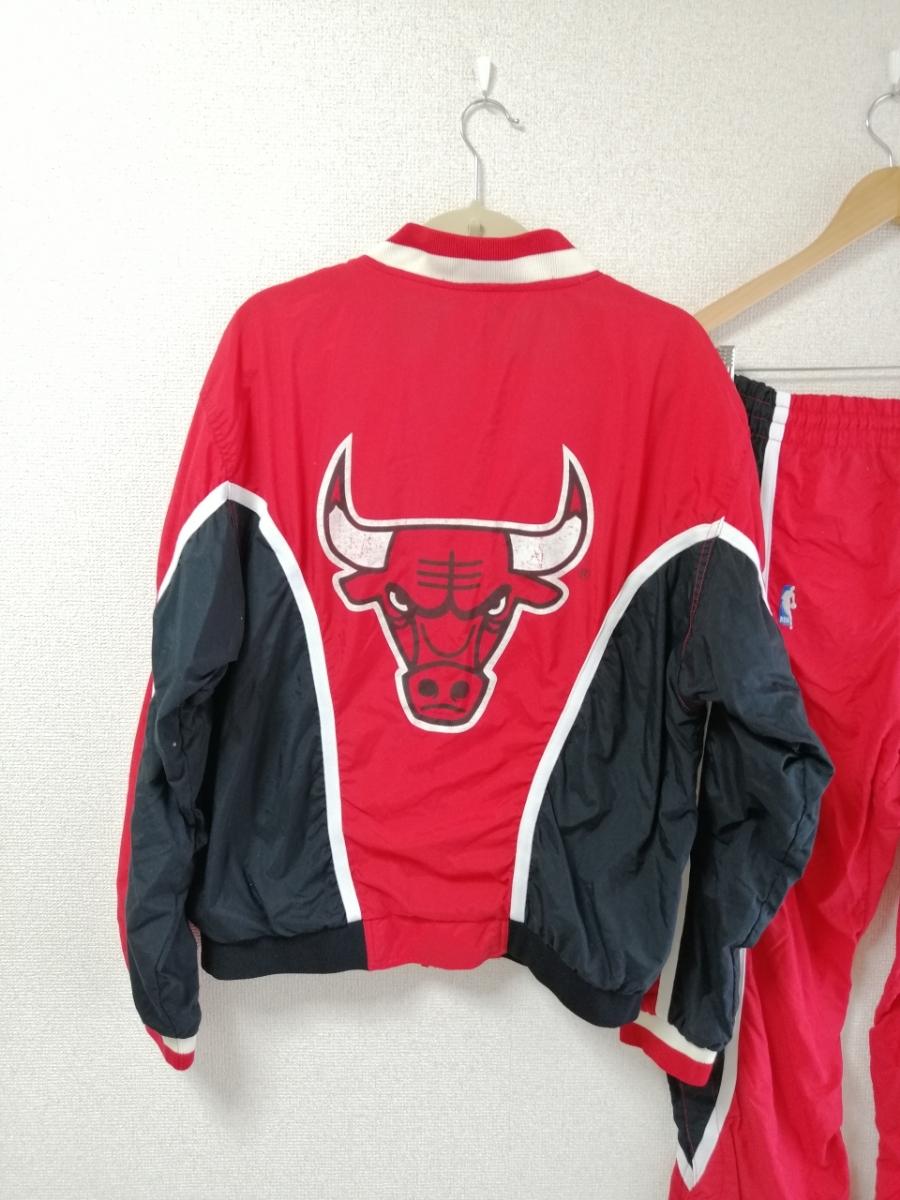希少 champion チャンピオン シカゴブルズ ウォームアップジャージ ナイロンジャケット セットアップ パンツ 90S 90年代 L レッド(赤)_画像6