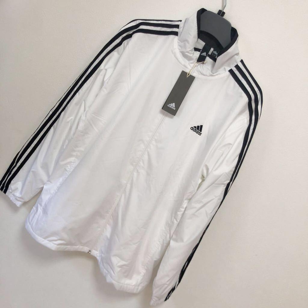 アディダス adidas メンズ スポーツウェア ウインドブレーカー M ESSENTIALS 3ストライプス ジャケット 裏起毛 白 ホワイト サイズO 新品_画像2