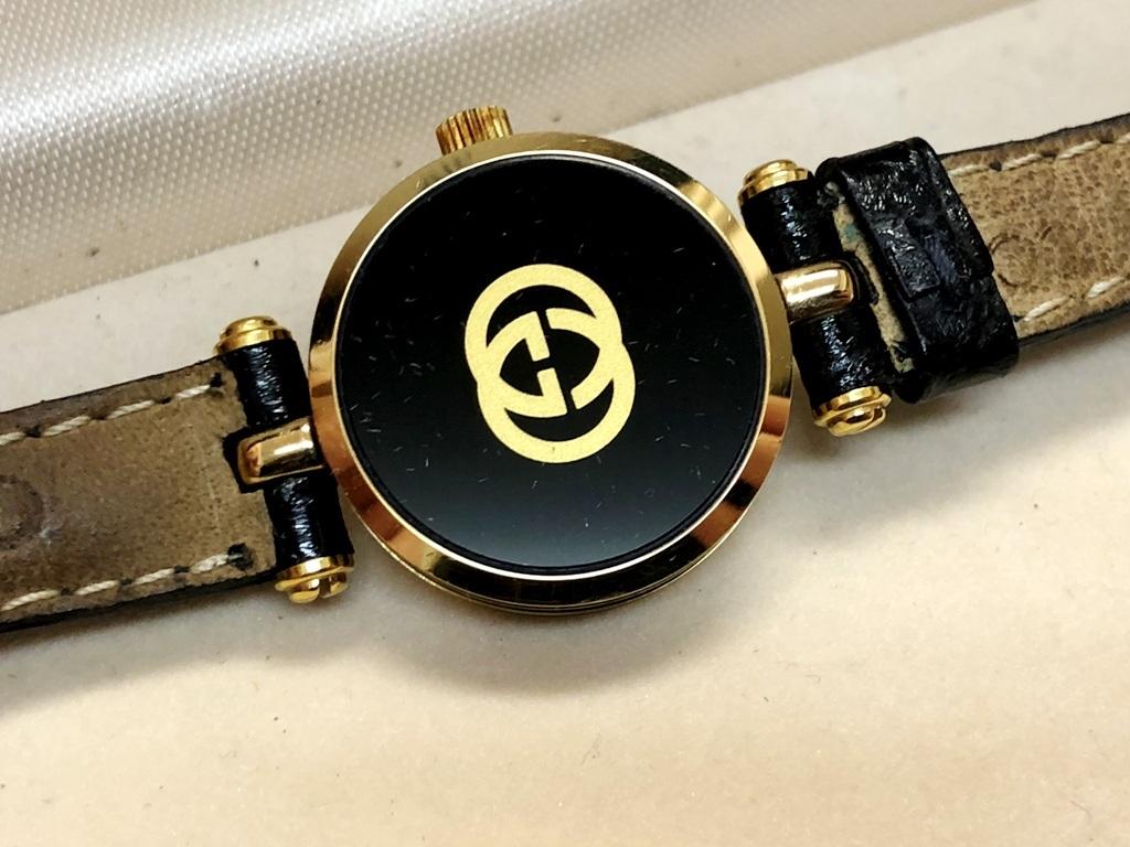 ☆GUCCI/グッチ ゴールド×ブラック レディース腕時計《電池交換済/中古品/ケースつき》☆_画像8